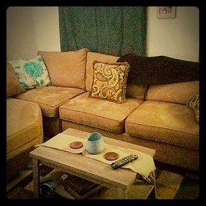 2 brown suede sectional
